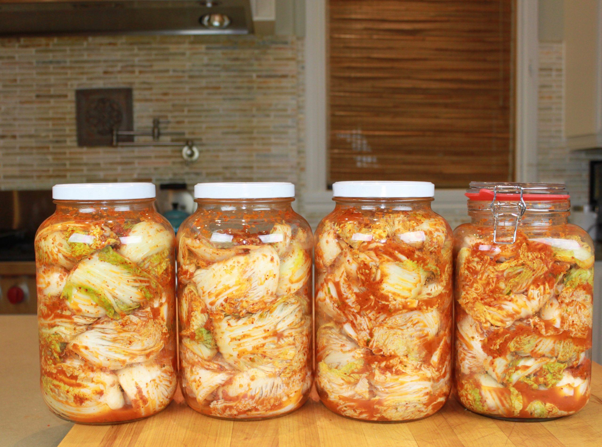 4 giant jars of kimchi