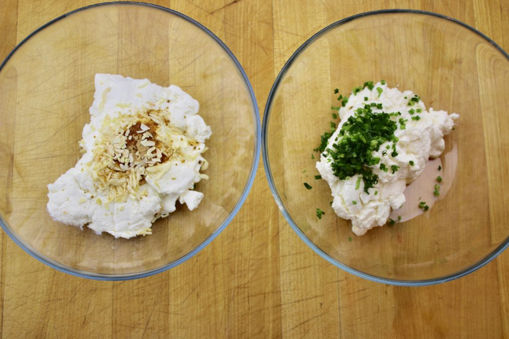 "Milk kefir cheese 2 ways: chive and ""classic onion"""