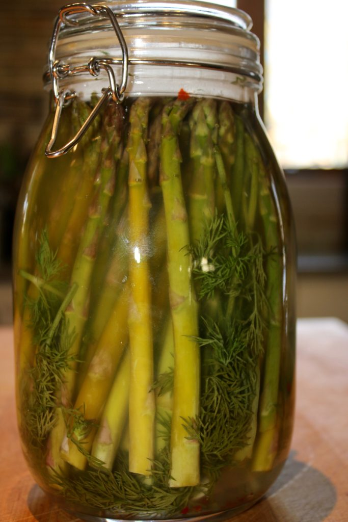 Dilled lacto-fermented asparagus after 4 days