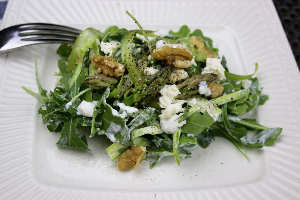 Shaved Asparagus-Arugula Salad with Probiotic Lemon-Dill Sauce