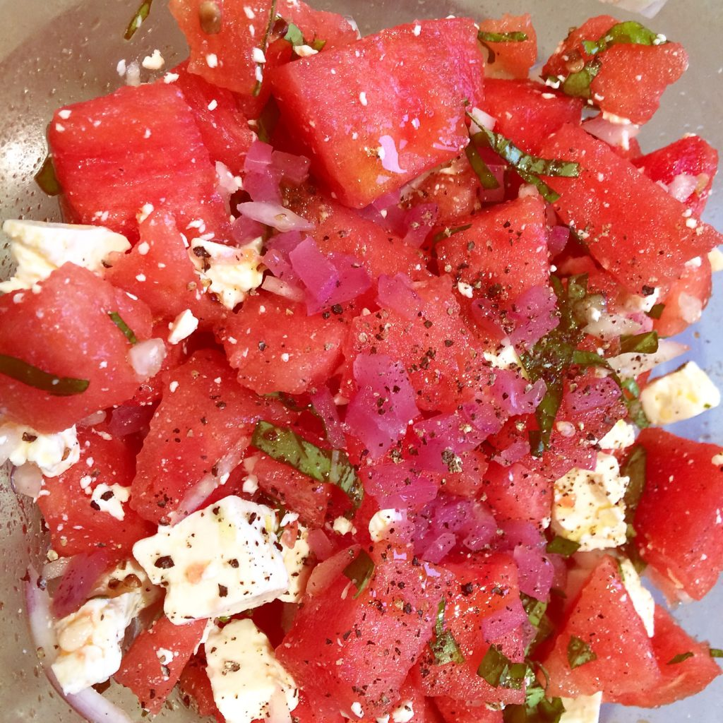 watermelon-feta salad with kombucha vinaigrette and lacto-fermented red onions
