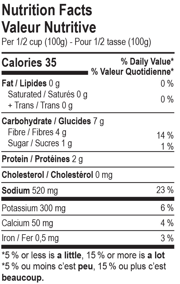 The Cultured Foodie Curry Sauerkraut nutrition label