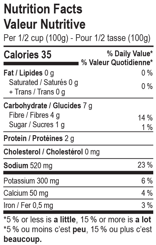The Cultured Foodie Dill Sauerkraut nutrition label