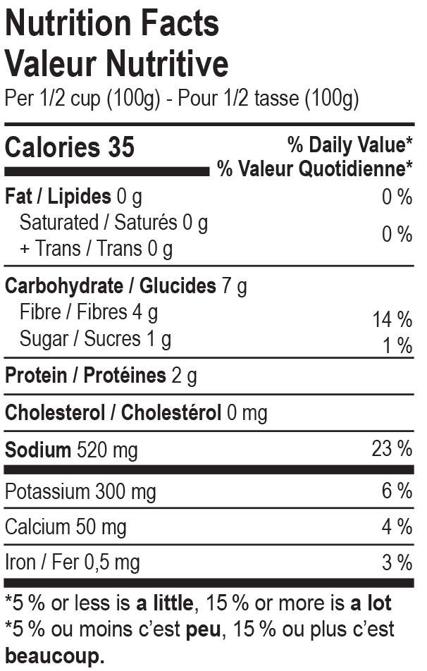 The Cultured Foodie Naked Sauerkraut nutrition label